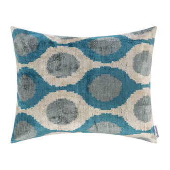 Velvet Cushion - 40x50cm - Blue/White Oval Pattern