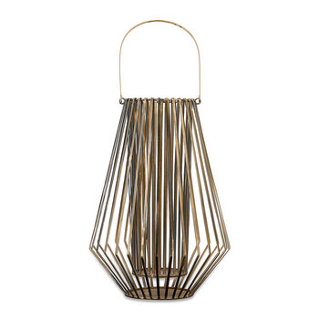 Atu Conical Wire Lantern - Aged Brass