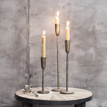 Mbata Rustic Candlestick - Antique Brass
