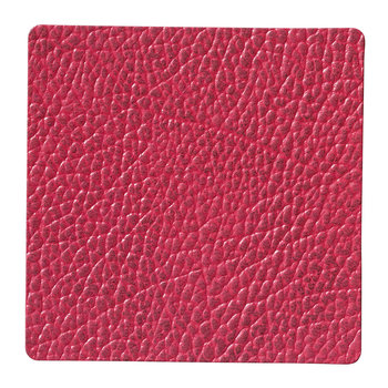 Hippo Square Drinks Coaster - Raspberry