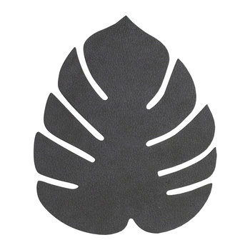 Monstera Leaf Drinks Coaster - Black