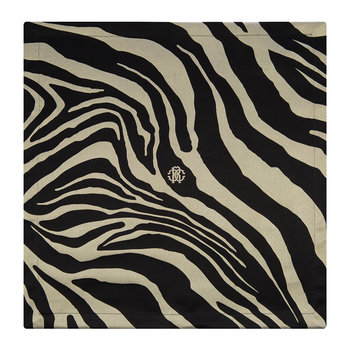 Serviettes de Table Zebrage - Lot de 2 - Noir