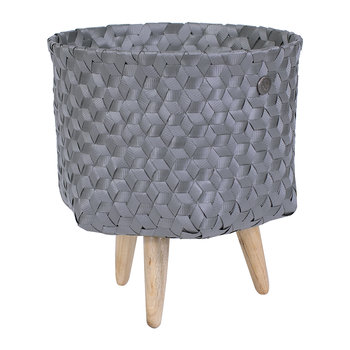 Dimensional Open Round Basket with Wooden Feet - Dark Grey