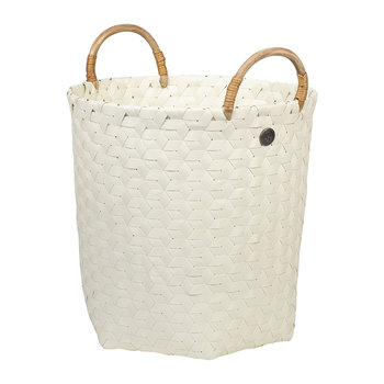 Dimensional Round Basket with Rattan Handles - Ecru White