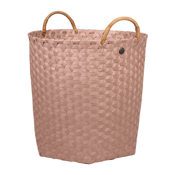 Dimensional Round Basket with Rattan Handles - Copper Blush