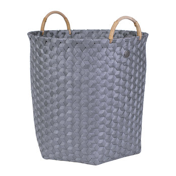 Dimensional Round Basket with Rattan Handles - Dark Grey