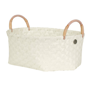 Dimensional Open Oval Basket with Rattan Handles - Ecru White