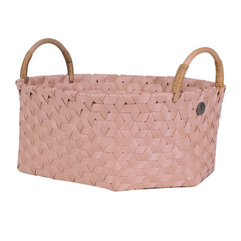 Dimensional Open Oval Basket with Rattan Handles - Copper Blush