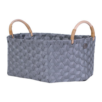 Dimensional Open Oval Basket with Rattan Handles - Dark Grey