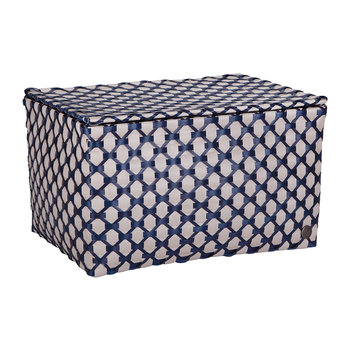 Toulon Rectangular Basket with Flaptop - Pale Grey/Navy