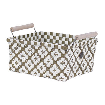 Motif Square basket with Handles - Olive/White