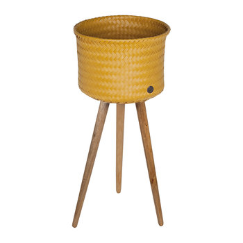 Up Round Basket with Wooden Feet - Mustard