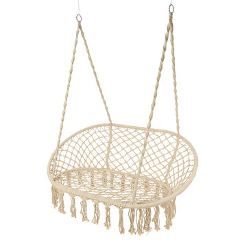 Outdoor Hanging 2 Seat Chair with Fringing - Cream