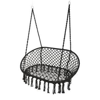 Outdoor Hanging 2 Seat Chair with Fringing - Black