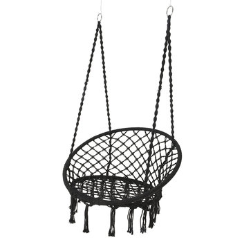 Outdoor Hammock Chair with Fringing - Black