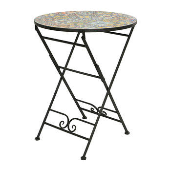 Outdoor Mosaic Tile Table and Chair Set - Black