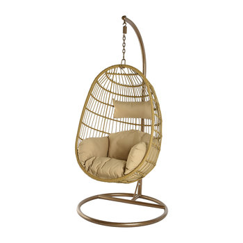 Outdoor Hanging Wicker Chair with Cushions - Natural