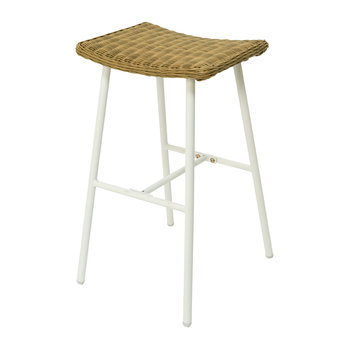 Outdoor Wicker Bar Stool - White
