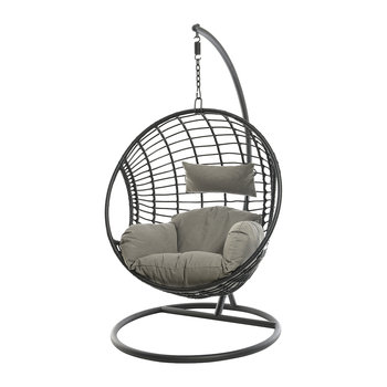 Circle Wicker Hanging Chair - Black