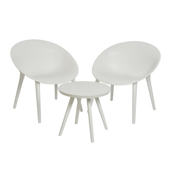 Outdoor Coffee Table & Chair Set - White
