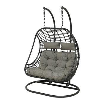 Two Seater Hanging Wicker Chair - Black
