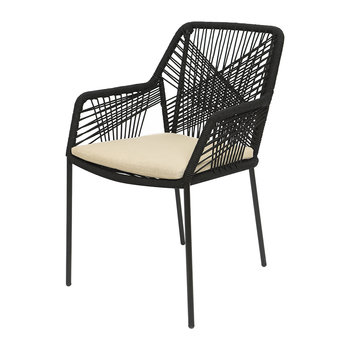 Outdoor Rope Weave Dining Chair - Black