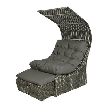 Outdoor Wicker Daybed with Roof - Grey