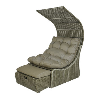 Outdoor Wicker Daybed with Roof - Taupe