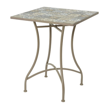 Outdoor Mosaic Tile Table and Chair Set - Taupe