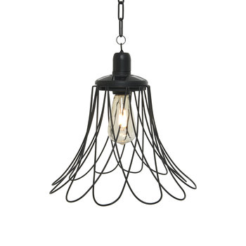Outdoor Open Flower Ceiling Light - Black