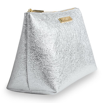 Mia Metallic Make Up Bag - Silver