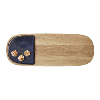 Stoneware Wooden Serving Board - Dark Blue