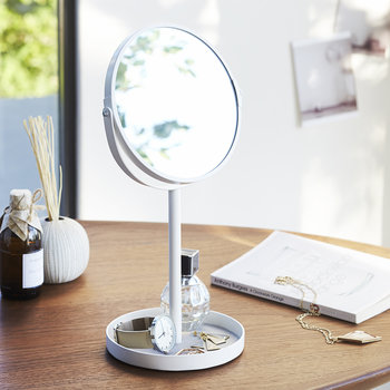 Tower Cosmetic Mirror With Accessory Tray - White
