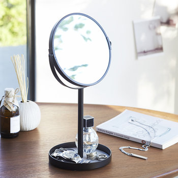 Tower Cosmetic Mirror With Accessory Tray - Black