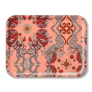Caspian Rectangular Tray - Coral
