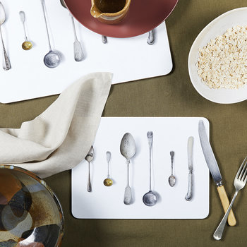 'Cutlery' Placemat - White