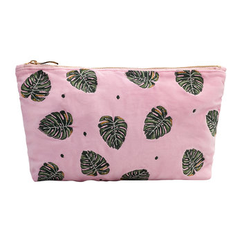 Jungle Leaf Wash/Clutch Bag - Rose Shadow