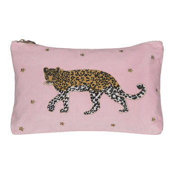 Leopard Velvet Travel Pouch - Rose Shadow