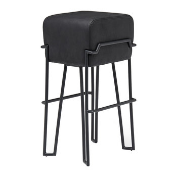 Bokk Leather Bar Stool - Black