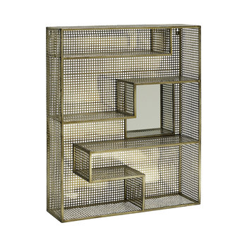 Wall Rack with Mirror - Gold