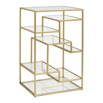 Display Cabinet with Glass Shelves - Gold
