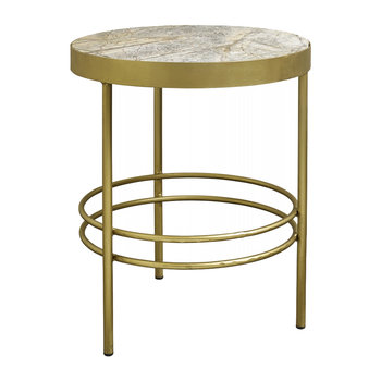 Jungle Side Table with Marble Top - Gold