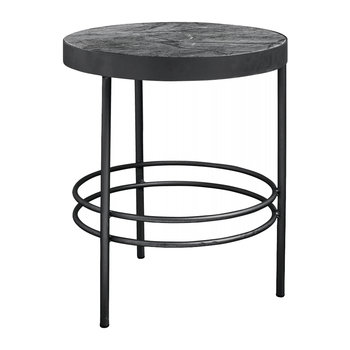 Midnight Side Table with Marble Top - Black