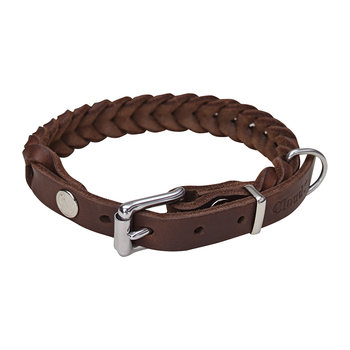 Braided Central Park Collar - Saddle Brown