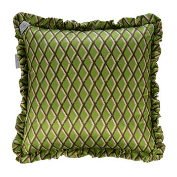 Diamond Satin Reversible Cushion - Black/Pistachio - 50x50cm