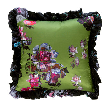 Wild Rose Satin Reversible Pillow - Green/Black - 35x35cm