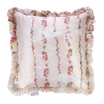 Floral Garland Satin Reversible Cushion - Peach/Lemon - 50x50cm