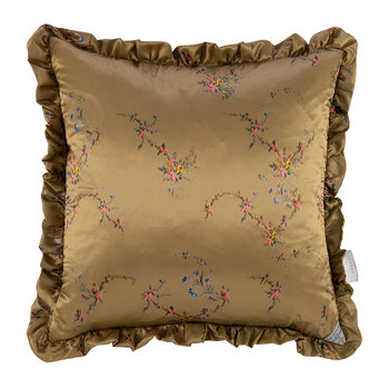 Floral Garland Satin Reversible Cushion - Blue/Toffee - 50x50cm