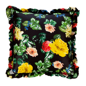 Waxed Flower Satin Reversible Pillow - Black - 50x50cm