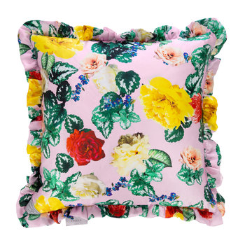 Tropical Flower Satin Reversible Pillow - Black - 50x50cm